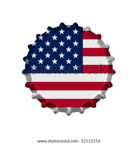 An illustration of a bottle cap with a country sign america - stock photo