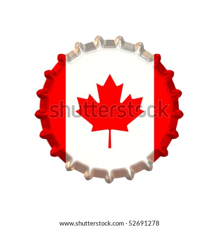An illustration of a bottle cap with a country sign Canada - stock photo