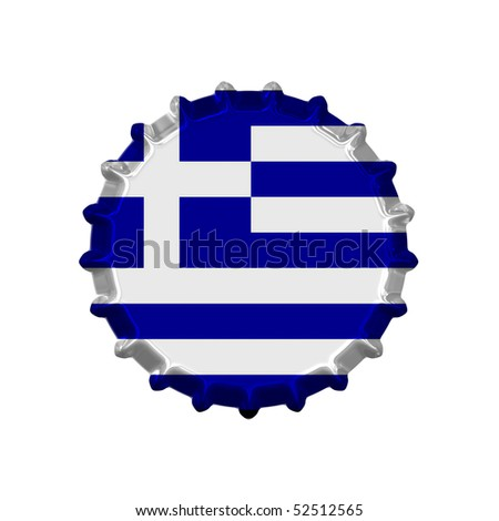 An illustration of a bottle cap with a country sign greece - stock photo
