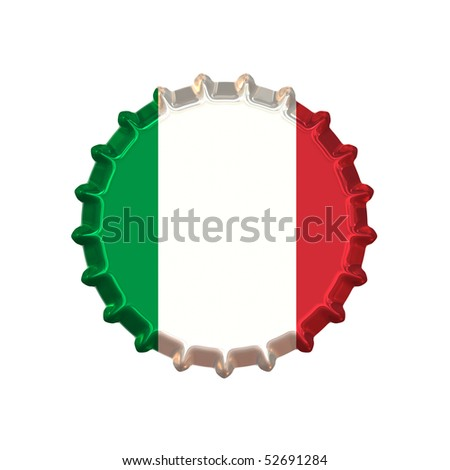 An illustration of a bottle cap with a country sign Italy - stock photo