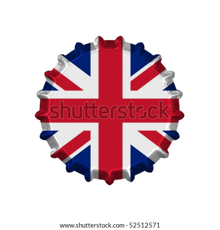An illustration of a bottle cap with a country sign united kingdom - stock photo