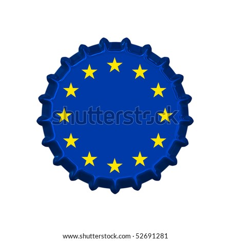 An illustration of a bottle cap with the Europe Union sign - stock photo