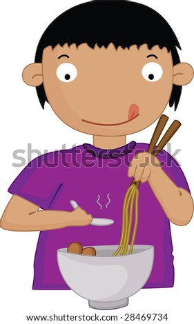 an illustration of a boy eating food