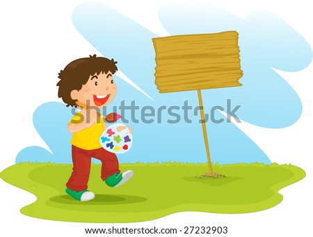 an illustration of a boy painting a sign