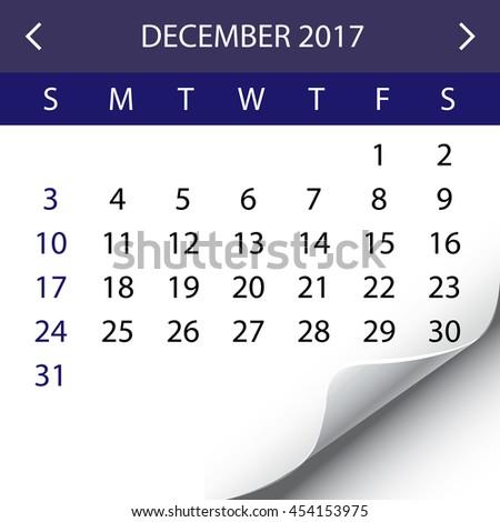 An Illustration of a 2017 Calendar - December - stock photo