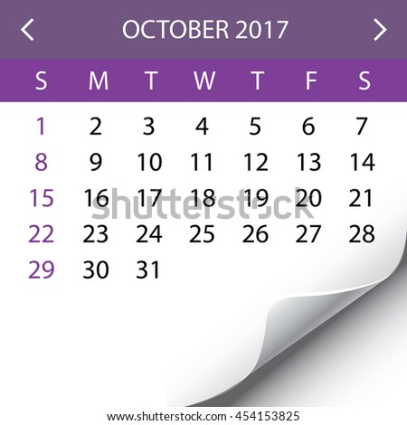 An Illustration of a 2017 Calendar - October - stock photo