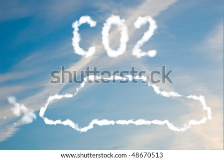 An illustration of a car with the text CO2 made up of white puffy clouds to represent environmental issues or carbon footprint.