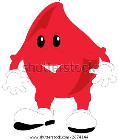 An illustration of a cartoon blood drop - stock photo