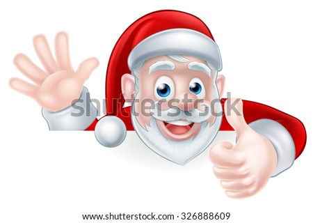 An illustration of a cartoon Santa claus waving and giving a thumbs up while peeking over a sign - stock photo
