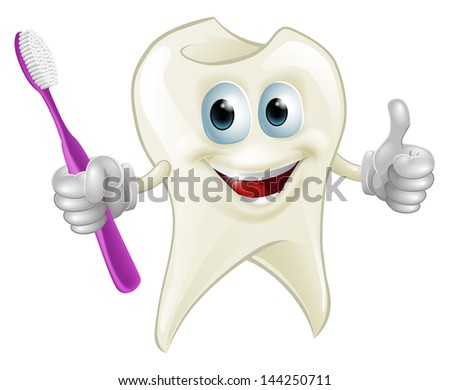 An illustration of a cartoon tooth man character mascot holding a toothbrush
