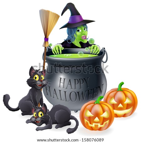 An illustration of a cartoon witch with cats, pumpkins and bubbling cauldron filled with green witch's brew - stock photo