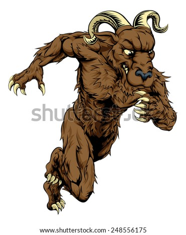 An illustration of a charging running ram character, great as a sports or athletics mascot
