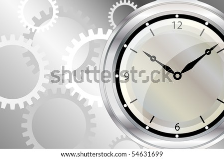 An illustration of a clock face with clockwork background. Space for text.