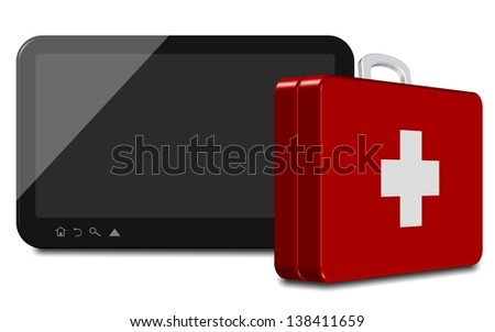 An illustration of a computer tablet and first aid suitcase / Computer tablet first aid - stock photo