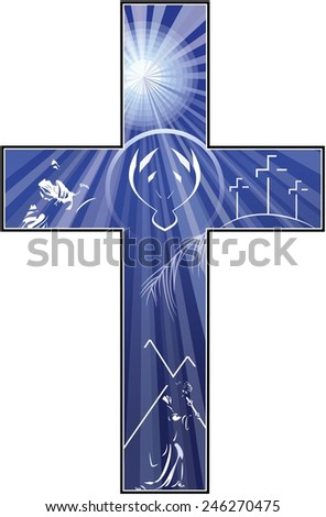 An illustration of a cross filled with drawings depicting the story of the crucifixion and resurrection of Christ.  - stock photo