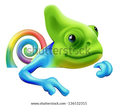 An illustration of a cute cartoon rainbow coloured chameleon pointing from above a sign or banner - stock photo