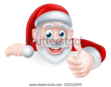 An illustration of a cute Cartoon Santa peeking over a sign giving a thumbs up in approval - stock photo