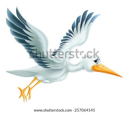 An illustration of a cute cartoon Stork bird character flying through the air - stock photo