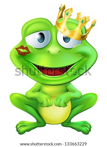 An illustration of a cute frog cartoon character wearing a gold crown with a red lipstick mark on his lips form a kiss - stock photo