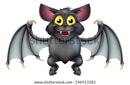 An illustration of a cute happy cartoon Halloween bat character - stock photo