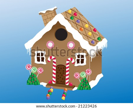 An illustration of a delicious homemade gingerbread house with gum drops, lollipops and candy canes. JPG version. - stock photo