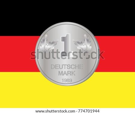 Illustration Deutsche Mark Coin On German Stock Illustration