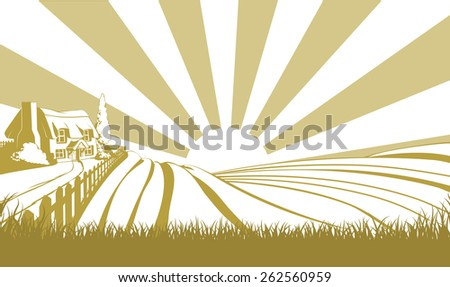 An illustration of a farm house thatched cottage in an idyllic landscape of rolling hills - stock photo