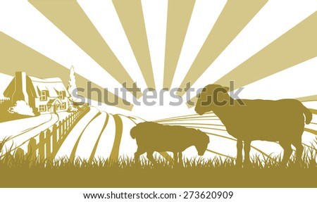 An illustration of a farm house thatched cottage in an idyllic landscape of rolling hills with two sheep in silhouette standing in the foreground - stock photo