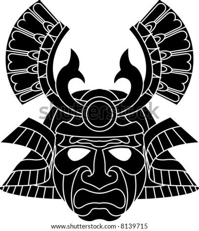 An illustration of a fearsome monochrome samurai mask - stock photo