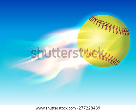 An illustration of a flaming softball in the sky. - stock photo
