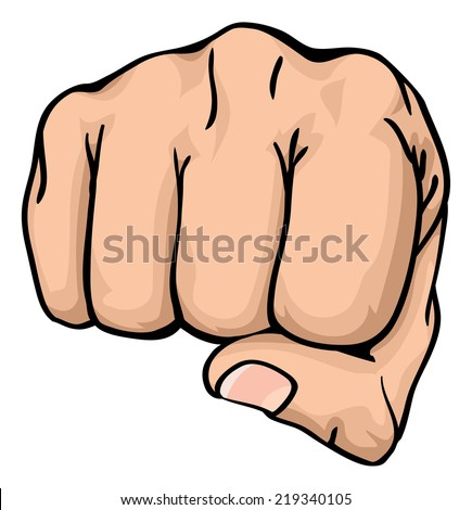 an illustration of a front view of a right human hand punching towards you the viewer - stock photo