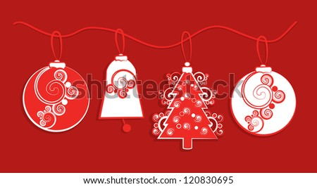 An illustration of a garland of red and white Christmas themed paper decorations of baubles, bells and Christmas tree