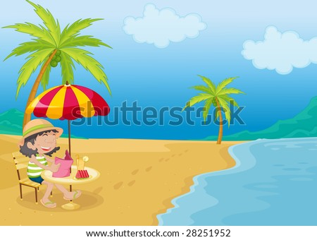 an illustration of a girl relaxing on the beach