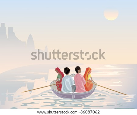 an illustration of a group of asian men and women traveling by boat on the river ganges in early morning