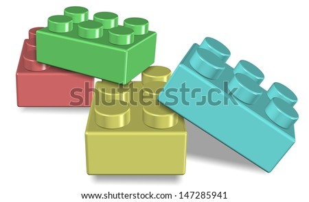 An illustration of a group of colorful toy building blocks / Toy building blocks - stock photo