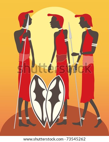 an illustration of a group of masai warriors talking in front of an african sunset - stock photo