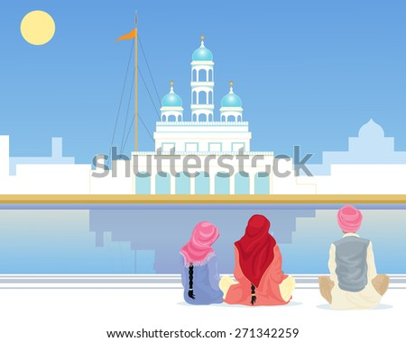 an illustration of a gurdwara with a sarovar and pilgrims sitting on the marble walkway under a blue sky in the punjab - stock photo