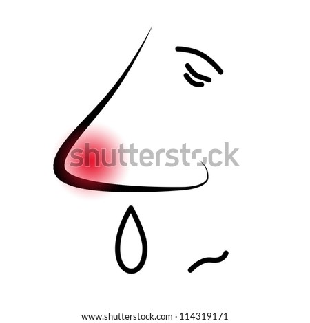 an illustration of a guy with the flu or with an allergy - stock photo
