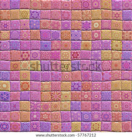 An illustration of a hand crafted quilt made from patterned squares - stock photo