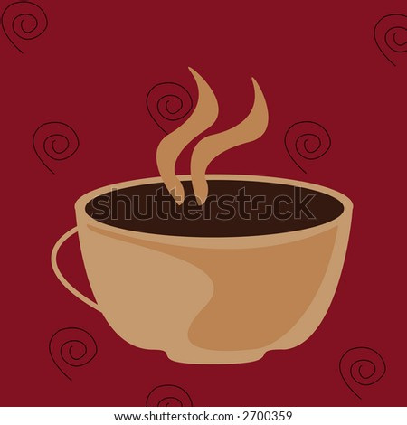 An illustration of a hot cup of coffee - stock photo