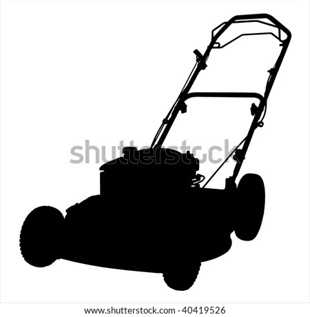 An illustration of a lawnmower silhouette on a white background. - stock photo