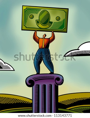 An illustration of a man lifting a bank note - stock photo