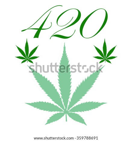 An illustration of a marijuana leaf and the number 420 that represents it and the 