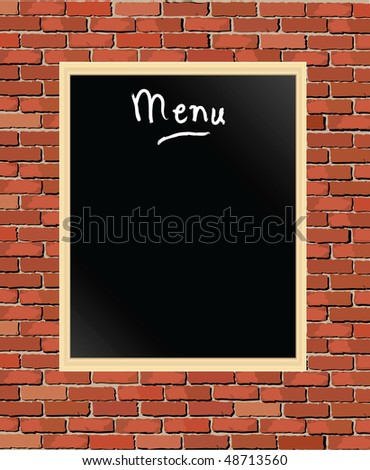 An illustration of a 'menu' chalkboard against a brick wall - stock photo