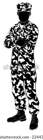 An illustration of a military soldier standing with arms folded in silhouette - stock photo