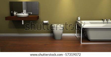 An illustration of a modern design bathroom suite - stock photo