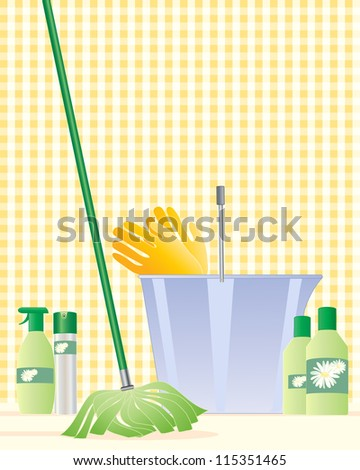 an illustration of a modern mop with a plastic bucket rubber gloves and cleaning products with a light yellow gingham background