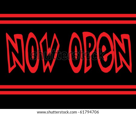 An illustration of a Now Open sign suitable for a retail store. - stock photo