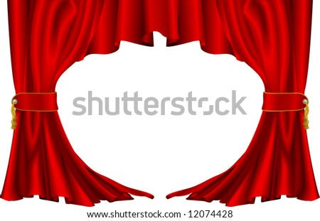 An illustration of a pair of red theatre style curtains - stock photo