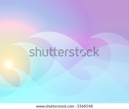 an illustration of a pastel sunrise through ice blue waves - stock photo